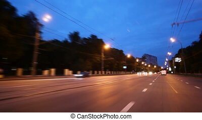 ville, nuit, rue, conduite, voiture