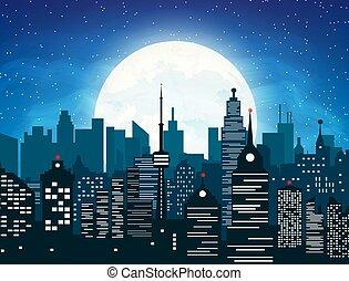 ville, nuit, silhouette, ciel