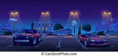 ville, nuit, voiture, stationnement, parc, rue, dehors