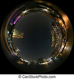 ville, nuit, vue