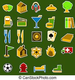 ville, objets, ensemble, icône