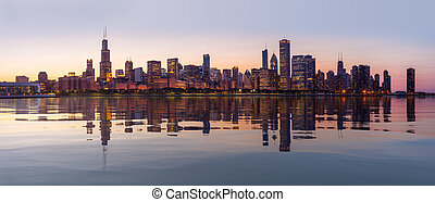 ville, observatoire, chicago, sur, horizon, coucher soleil