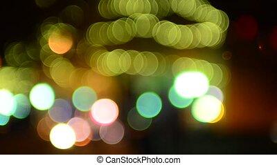 ville, occupé, foyer, lumières, bokeh, soir hors