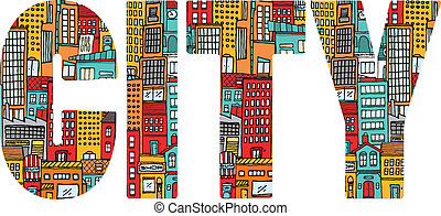 ville, occupé, mot