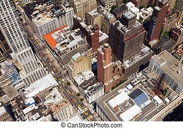 ville, oeil, en ville, rue, york, nouveau, oiseaux, vue