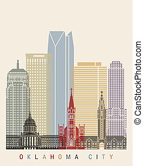 ville, oklahoma, horizon, affiche