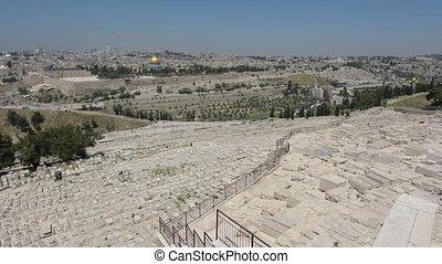 ville, olives, jérusalem, vieux, juif, monter, cimetière, israël, horizon