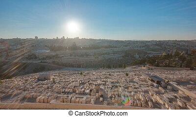 ville, olives., panorama, sur, timelapse, dôme, coucher soleil, rocher, jérusalem, monter, vue