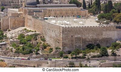 ville, olives., terre, vieux, saint, monter, timelapse, mosquée, jérusalem, andal-aqsa, vue