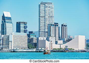 ville, péninsule, time., kowloon, jour, vue