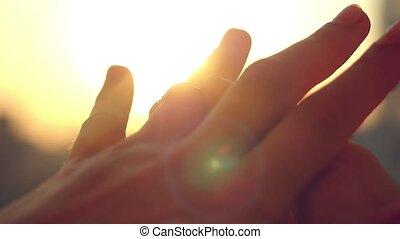 ville, palefrenier, glissement, mariée, slowmotion., coucher soleil, doigt, fond, anneau, 1920x1080