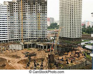 ville, panneau, gratte-ciel, bâtiments, construction, grues, monolithic-frame, nouveau, microdistrict, maisons