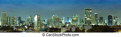 ville, panorama, -, bangkok, thaïlande, nuit