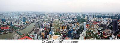 ville, panorama, crépuscule, saigon
