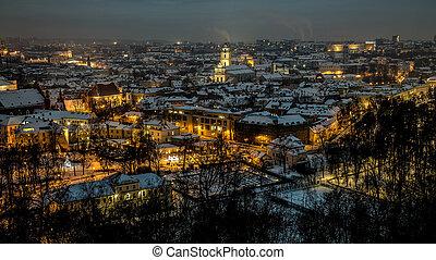 ville, panorama, vieux, vilnius, nuit