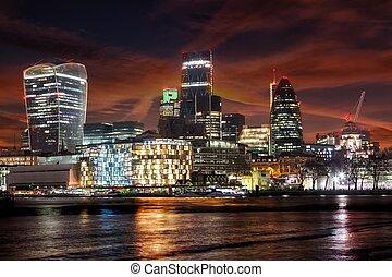 ville, panoramique, londres, royaume-uni, nuit, :, londres, vue