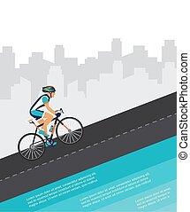 ville, par, cyclisme, poster., équitation, course, cycliste, concurrence