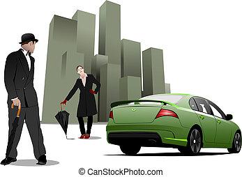 ville, parapluie, monsieur, illustration, arrière-plan., vecteur, vert, dame