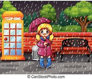 ville, parapluie, parc, pluie, porter, sous, girl, dessin animé