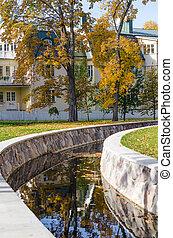 ville parc, automne, vieux