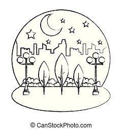 ville parc, ciel, paysage, nuit
