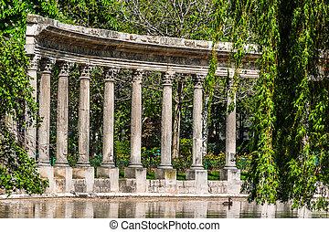 ville, parc, paris, monceau, france, colonnes
