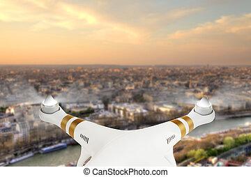 ville, paris, panorama, voler, bourdon, au-dessus