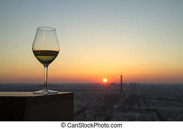 ville, paris, verre, coucher soleil, vin, vue