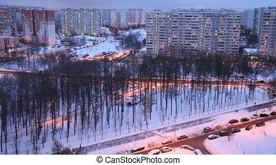 ville, partie, soir, moderne, hiver