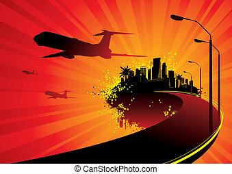 ville, partir, île, avion, -, llustration, silhouettes, vecteur