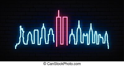 ville, patriote, centre, néon, commercer, york, mondiale, nouveau, silhouette., bannière, jour