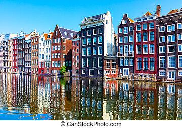 ville, pays-bas, vieille architecture, amsterdam