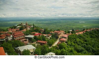 ville, paysage., défaillance, panoramique, sighnaghi, temps, georgia., vue