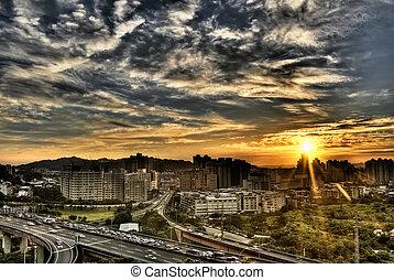 ville, paysage, de, coucher soleil