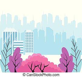 ville, paysage, fond, sur, buissons, coloré, urbain