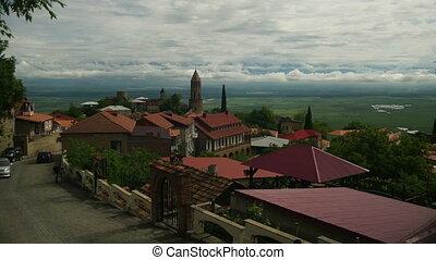 ville, paysage, georgia., panoramique, temps, sighnaghi, défaillance, vue