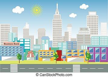 ville, paysage, grand
