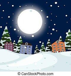 ville, paysage hiver, nuit
