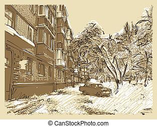 ville, paysage hiver