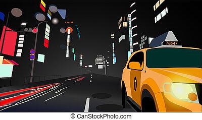 ville, paysage, nuit