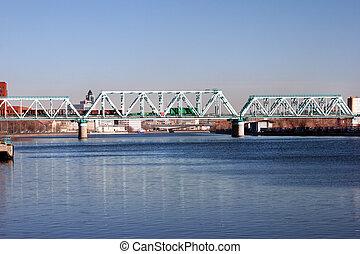 ville, paysage rivière