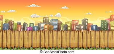 ville, paysage, seamless, fond