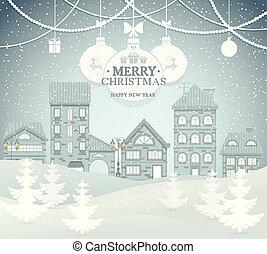 ville, paysage, vecteur, hiver, illustration