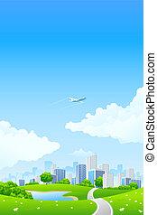 ville, paysage vert