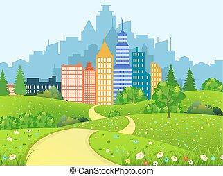 ville, paysage vert, route