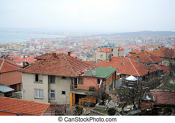 ville, petit, bord mer, toit, vue