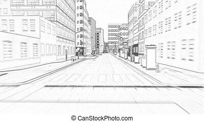 ville, petit, dessin, concept, bâtiment