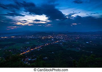 ville, petit, vue, aérien, nuit
