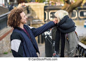 ville, peu, femme, elle, venise, jeune, main, camden, baisers, petit ami