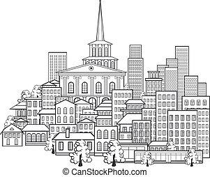 ville, peu, petit, rues